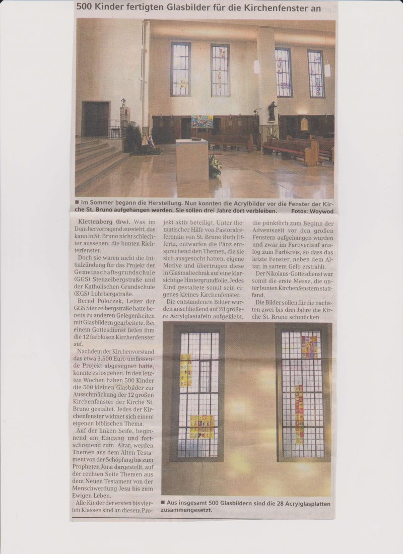 Kirchenfensterprojekt, KStA 2010